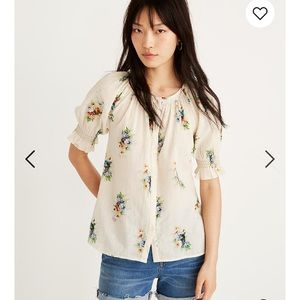 Madewell Smocked Button-Down Top